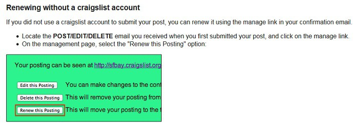 Renew Craigslist Post How to Sell your Stuff