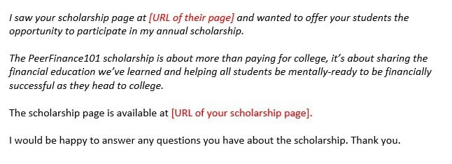 scholarship template email