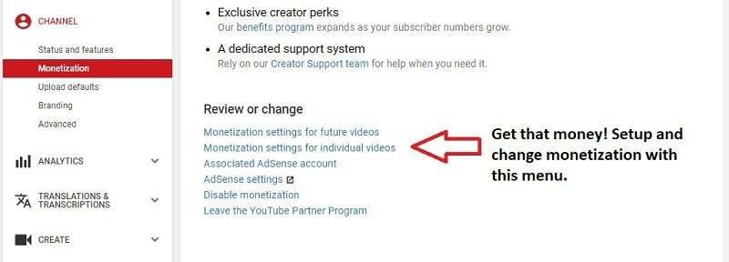 how to set up YouTube monetization