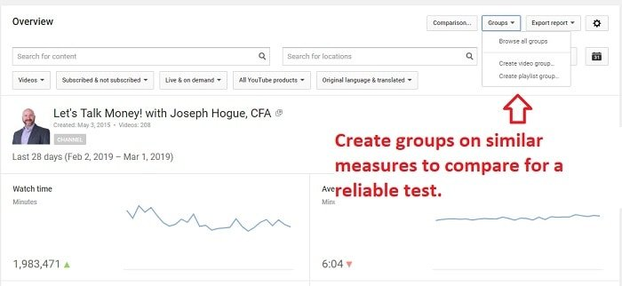 how to compare youtube video analytics